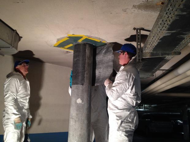 Monteringen af C-Sheets240 400 g/m2, 600 mm bred, vandret fra toppen til bunden